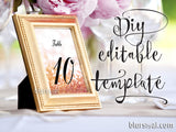 "5x7"" table numbers editable template for Word in rose gold glitter and calligraphy font, printable table numbers"