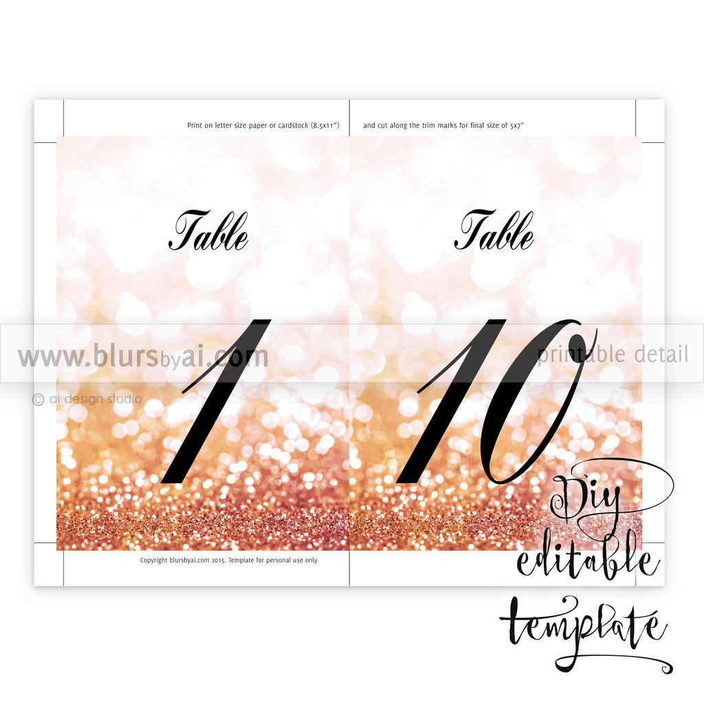 Gold color cardstock paper 5x7 -  5x7 Table Numbers Editable Template For Word In Rose Gold Glitter And Calligraphy Font