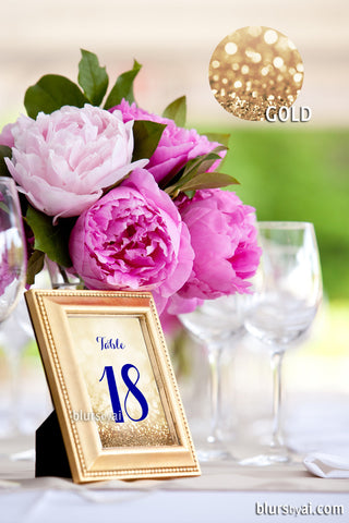 "5x7"" printable table numbers in navy blue & gold glitter, printable table numbers"