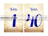 "4x6"" printable table numbers in navy blue & gold glitter, printable table numbers"