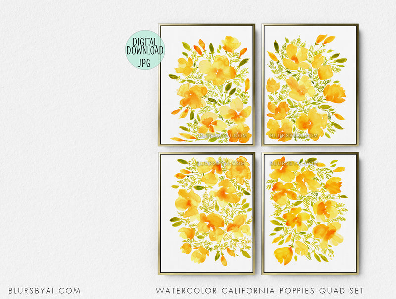 Set of four - Printable watercolor illustrations of California poppies - Personal use