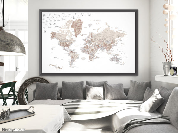 "Wedding guestbook map print: world map with cities in neutral watercolor. ""Abey"""