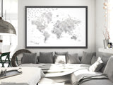 "Wedding guestbook map print: marble world map with cities in light grey. ""Clare"""