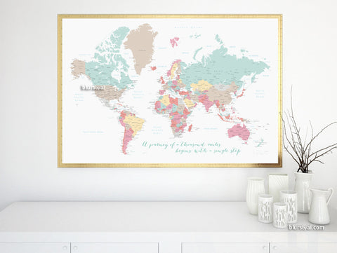 Printable large world map with cities and capitals in pastel colors, a travel of a thousand miles begins with a single step, large 60x40""