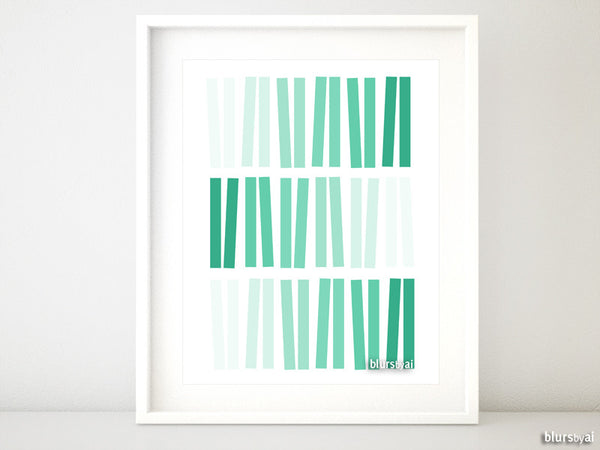 Geometric ombre abstract printable art in mint green