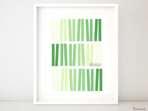 Geometric ombre abstract printable art in shades of green