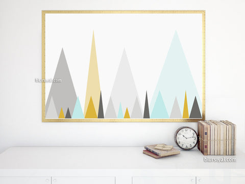 Geometric mountains abstract printable poster, large 36x24""