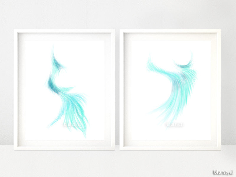 Abstract art printables in aquamarine blue, set of 2