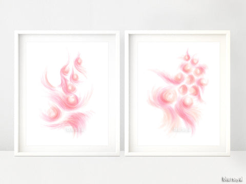 Abstract art printables in shades of pink and coral, set of 2
