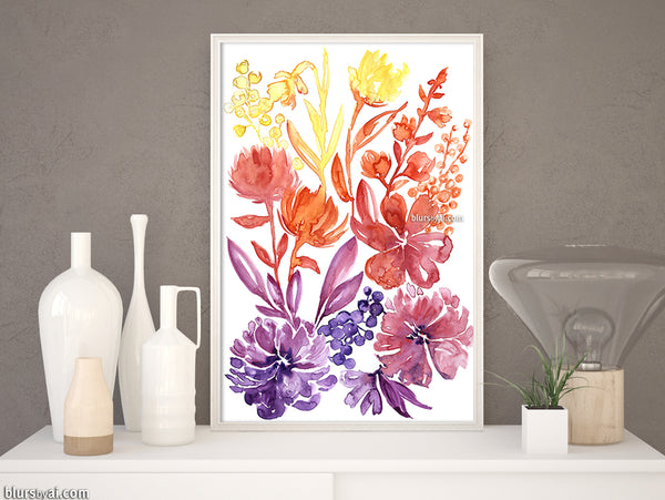 Floral abstract and colorful watercolor illustration printable