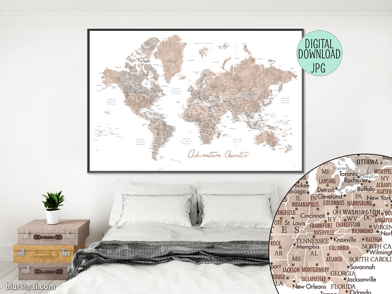 Adventure awaits, PRINTABLE world map in neutral watercolor with US state capitals, cities, countries...