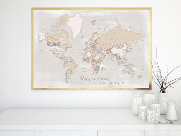 Adventures are forever, printable world map with cities in rustic style, 36x34""