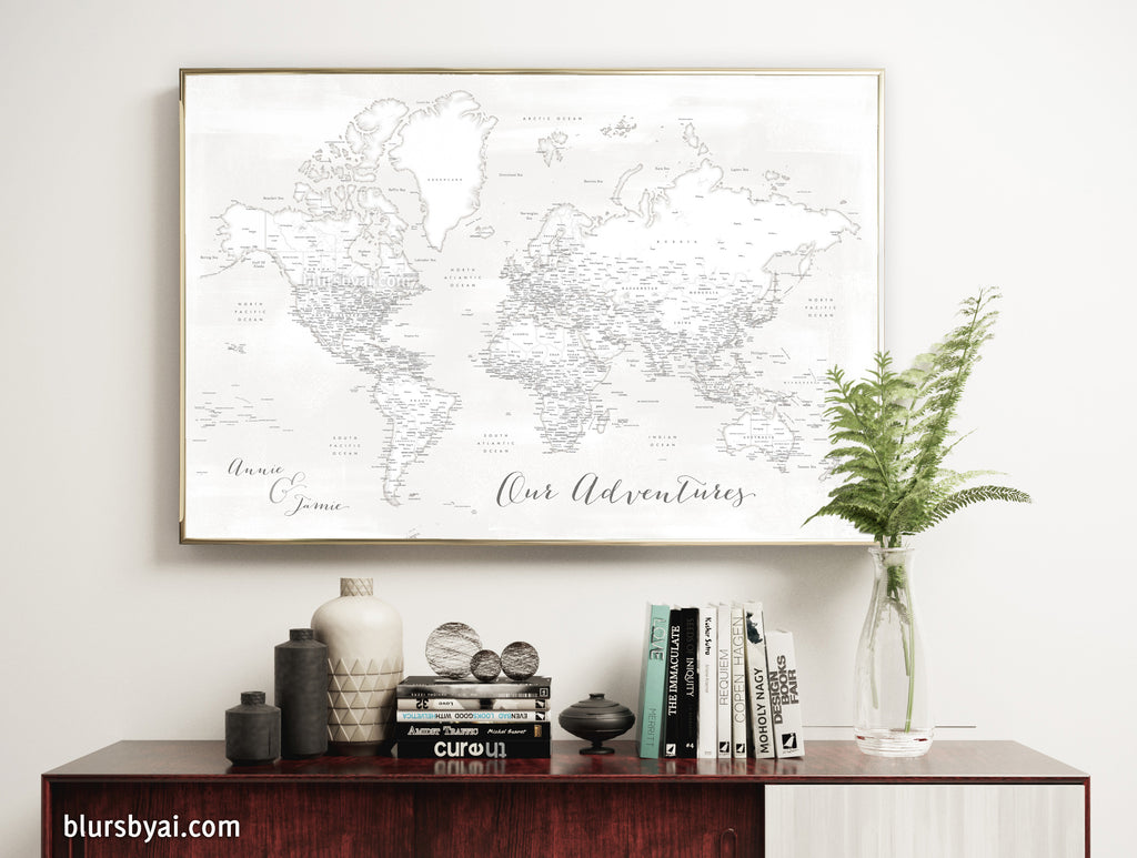 "Art print on paper: personalized detailed world map with cities. ""Maeli White"""