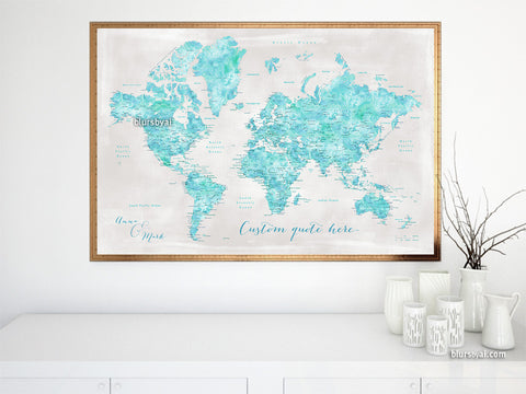 Personalized Aquamarine watercolor printable world map with cities in rustic background