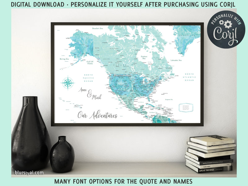 "Personalized PRINTABLE map of North America with cities, ""Naru"", edit-it-yourself using CORJL - Instant download for PERSONAL USE"