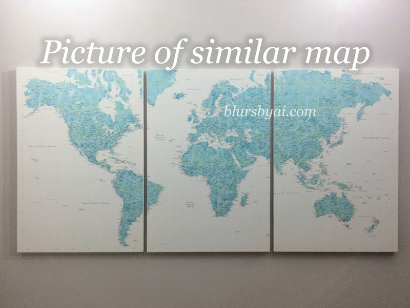 "Multi panel world map canvas print or push pin map, highly detailed world map with cities. ""Oriole"""