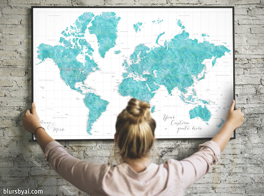 "Custom world map print - highly detailed map with cities in aquamarine watercolor. ""Peaceful waters"""