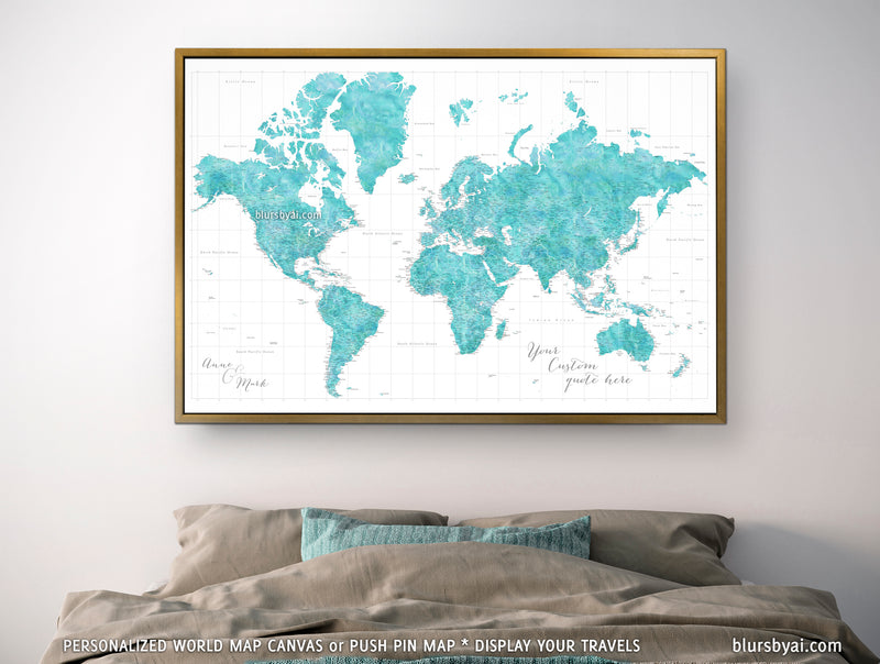 "Custom large & highly detailed world map canvas print or push pin map in aquamarine watercolor. ""Peaceful waters"""