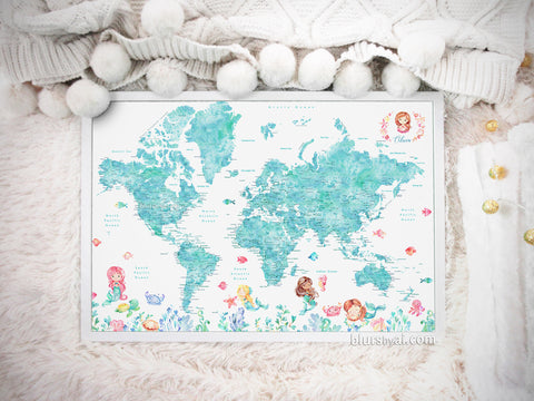 "Art print on paper: custom world map with cities and watercolor mermaids in aquamarine watercolor. ""Sirena"""