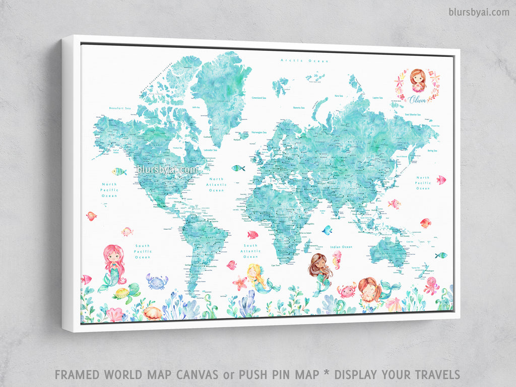 "Custom world map with cities and mermaids, canvas print or push pin map in aquamarine watercolor. ""Sirena"""