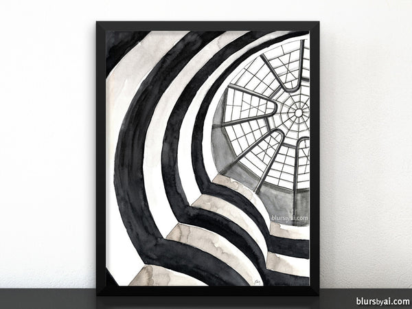 Printable watercolor architectural sketch: Guggenheim Museum NY interior