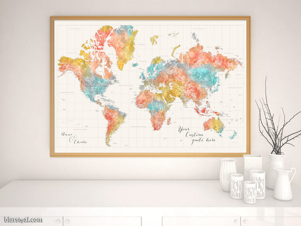 "Custom world map print - highly detailed map with cities in modern watercolor style. ""Fifi"""