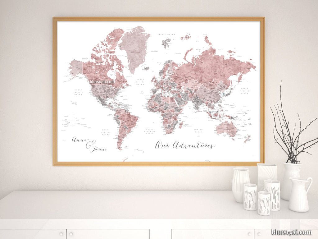 "Art print on paper: custom world map with state capitals, cities and countries in dusty pink and grey watercolor ""Piper"""