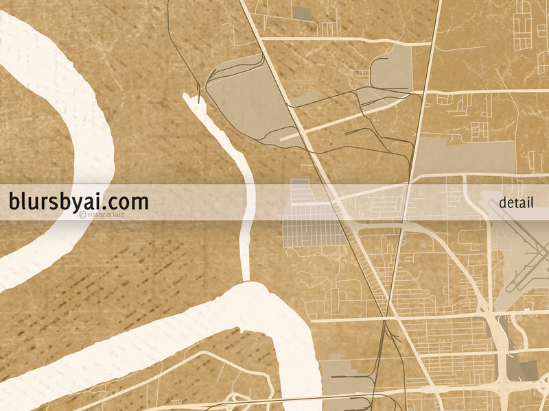 Printable map of Baton Rouge, Louisiana, in vintage distressed style - For personal use only
