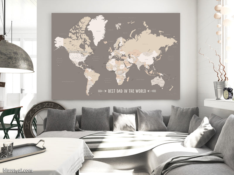 Best dad in the world, Printable world map with countries and states labelled in earth tones - For personal use only