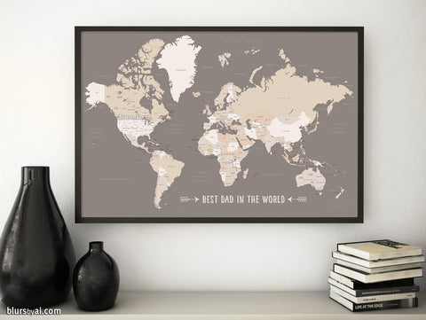 Best dad in the world, Printable world map with countries and states labelled in earth tones