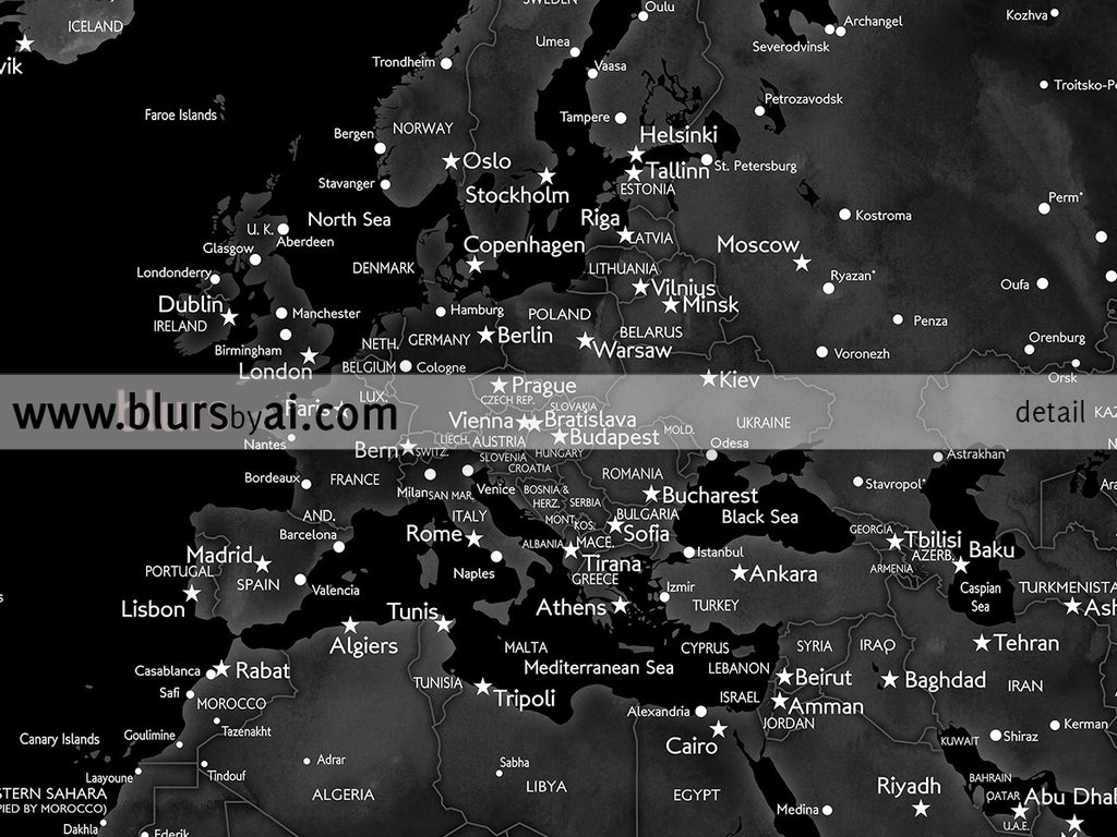 Printable world map with cities in black grey and white 36x24 printable world map with cities in black grey and white 36x24 gumiabroncs Images
