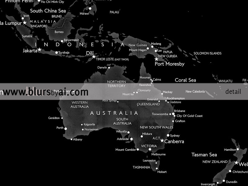 "Printable world map with cities in black, grey and white, 36x24"" - For personal use only"