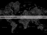 Printable world map with cities in black, grey and white, 36x24""
