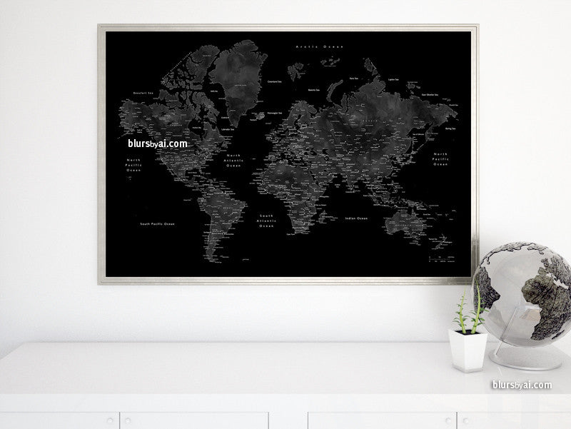 Printable world map with cities in black grey and white 36x24 printable world map with cities in black grey and white 36x24 gumiabroncs Image collections