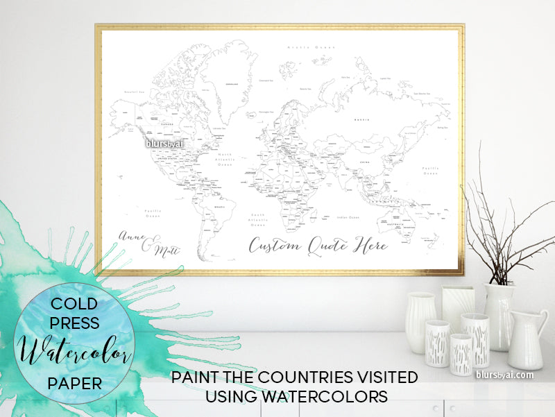 Custom blank world map with countries and states, printed on watercolor paper for coloring with watercolors