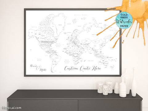 Personalized blank world map with countries and states, printed on watercolor paper for coloring with watercolors