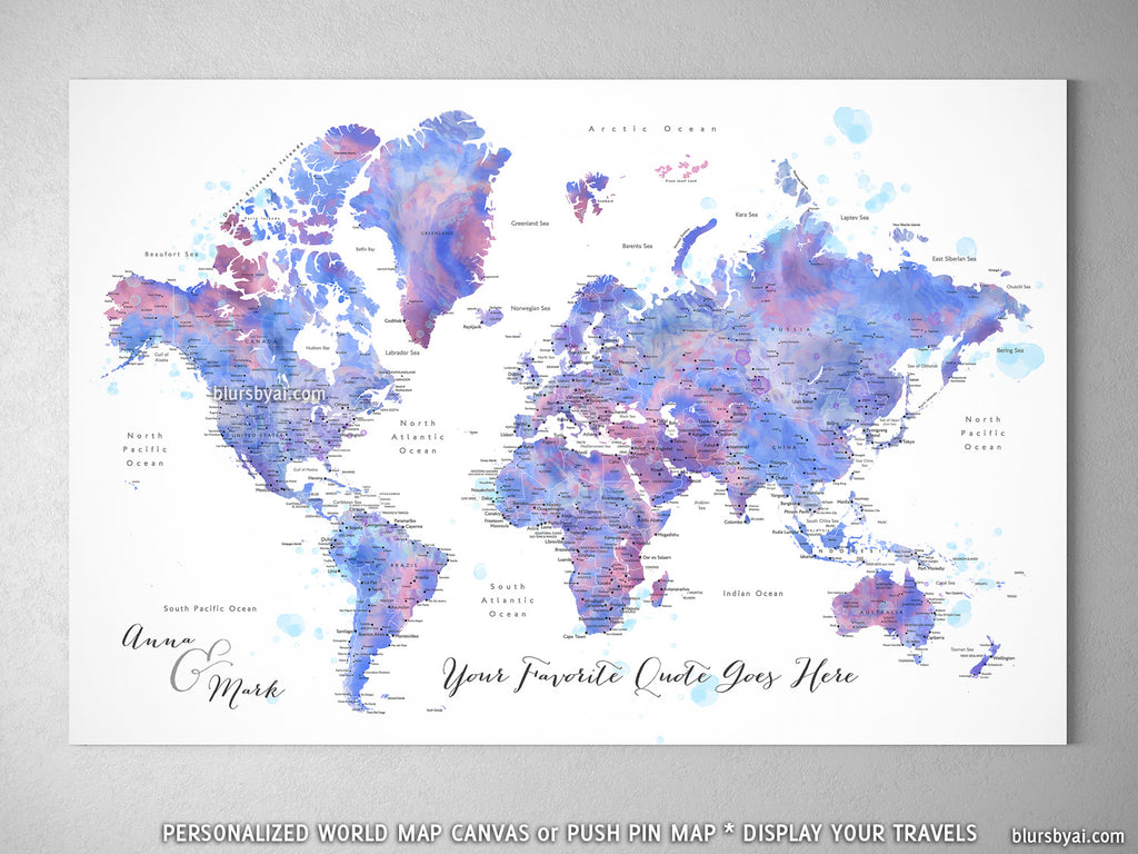 "Custom watercolor world map with cities, canvas print or push pin map in blue and purple. ""Zora"""