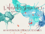Watercolor Blurs Vol 1: Set of 40 watercolor strokes and textures, commercial license