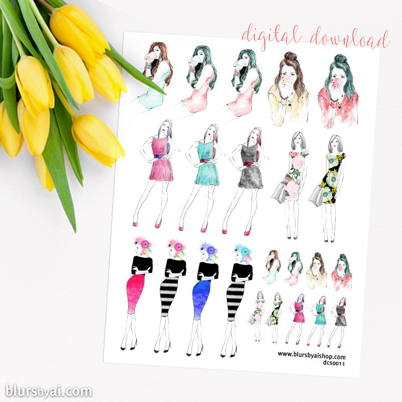 Coffee & fashion printable planner stickers, hand illustrated stickers