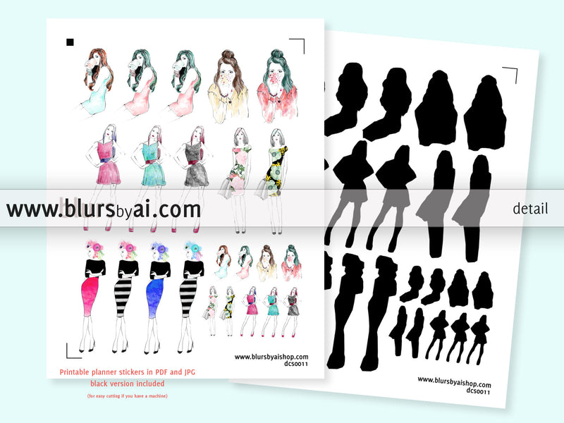 Set of 5 sheets - Fashion illustration printable planner stickers