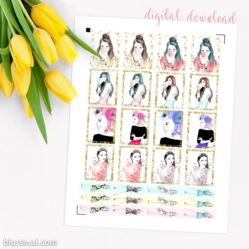 Coffee & fashion printable planner stickers, full boxes & washi style, hand illustrated stickers