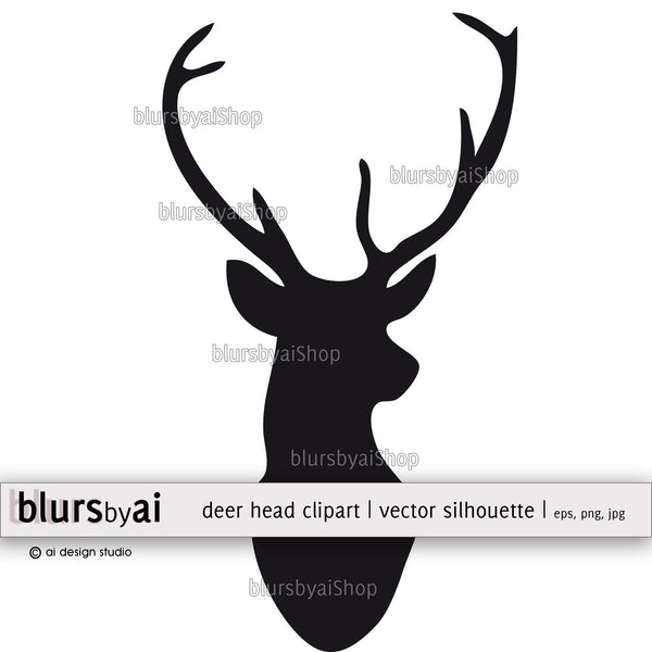 Vector deer head silhouette clipart