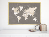 Darling let's be adventurers, printable world map with countries and distressed texture in earth tones, large 36x24""