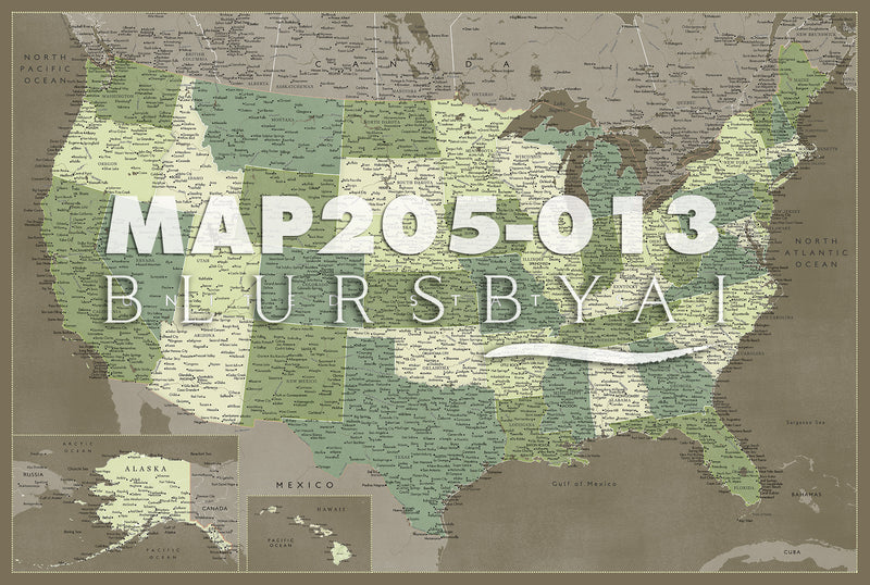 Customized map of the US, canvas print or push pin map. ALL COLOR CHOICES.