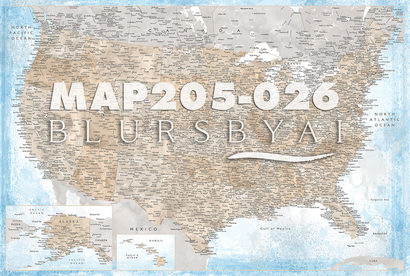 Custom map print: highly detailed map of the US with cities. ALL COLOR CHOICES.