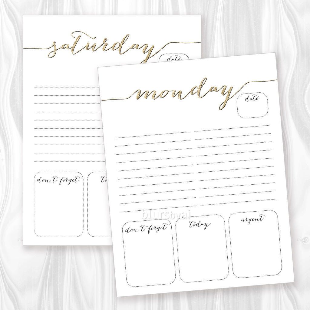 Printable Daily Planner Or To Do List In Gold Glitter Black