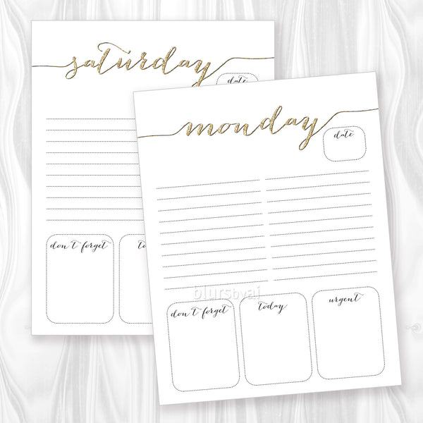 Printable daily planner or to do list in gold glitter