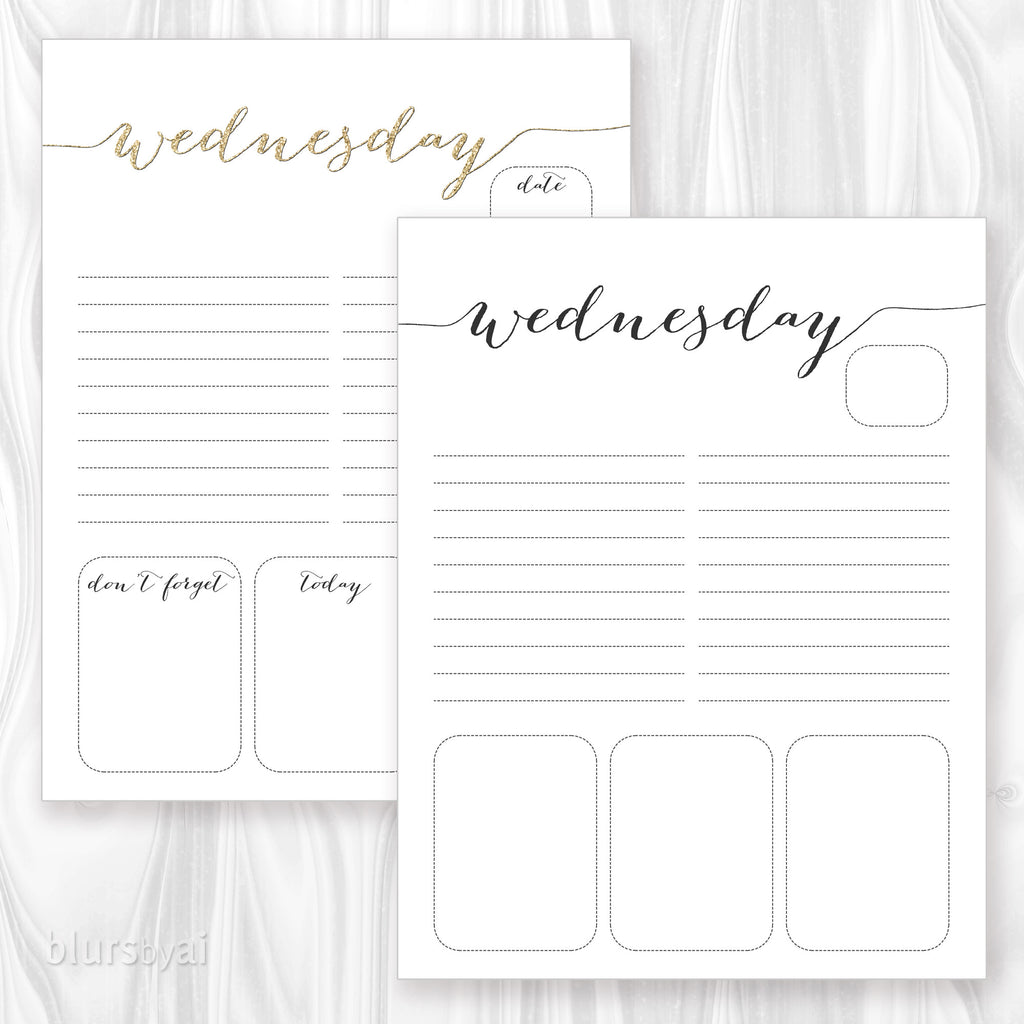 printable daily planner or to do list in gold glitter & black