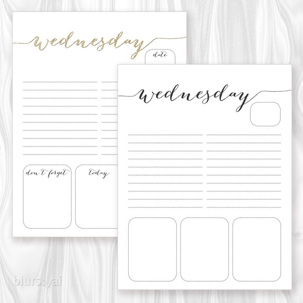 Printable daily planner or to do list in gold glitter & black calligraphy