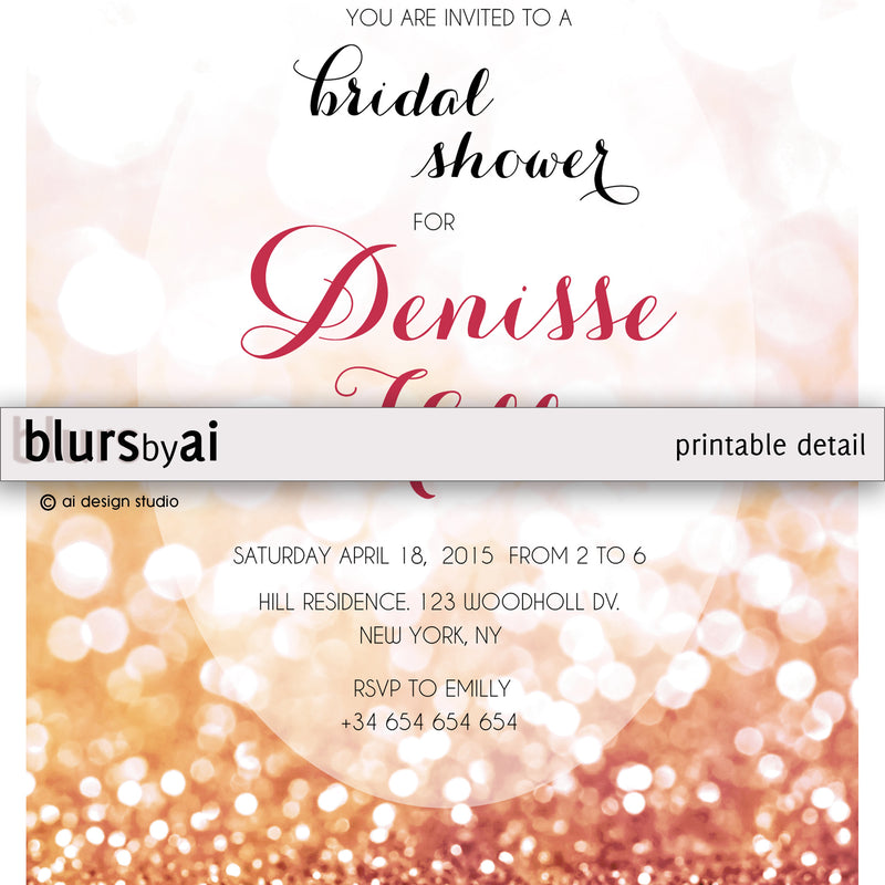 Customized printable bridal shower invitation in rose gold glitter, Olivia